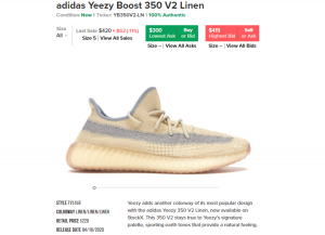 adidas Yeezy Boost 350 V2 Linen price on StockX